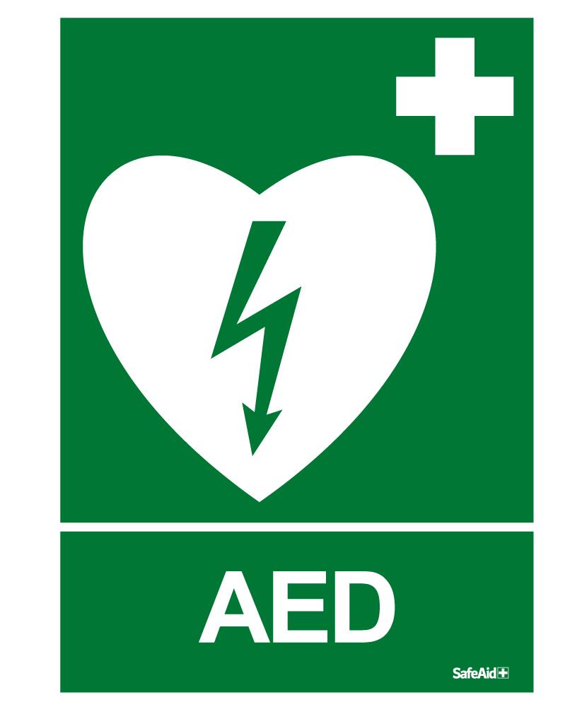 Opastekyltti, defibrillaattori